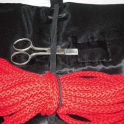 Satin case for bondage ropes
