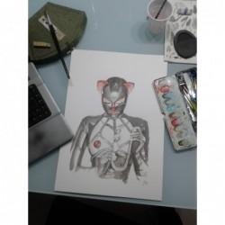 Ilustración original acuarela y tinta, Ama Eva - 01